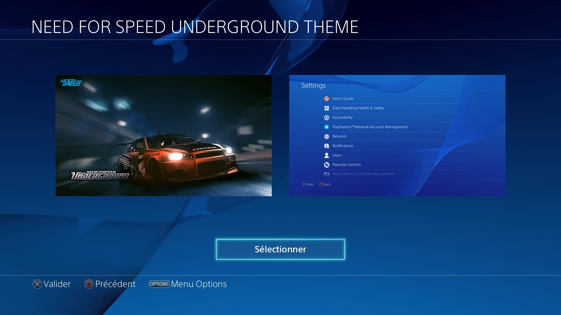 need for speed underground legends t l charger un th me ps4 personnalis. Black Bedroom Furniture Sets. Home Design Ideas